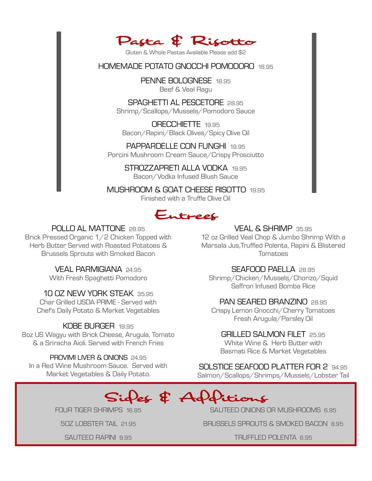 dinner menu | solstice restaurant and wine bar